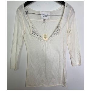 Abercrombie & Fitch Jeweled Fold Over Neck Top